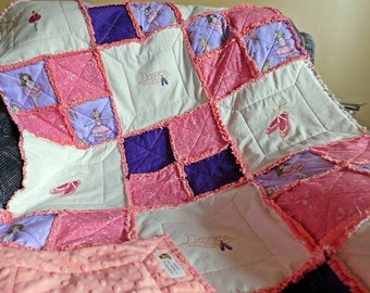 Rag Quilt - Ballet Quilt - Minky Rag Quilt - Rag Bedding - Minky Rag Quilt - Rag Lap Quilt - Ballerina Quilt - Toddler Rag Quilt