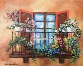 European Window Flower Balcony Painting