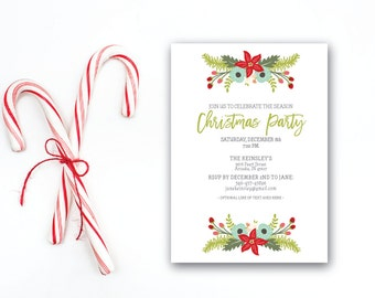 INSTANT DOWNLOAD Christmas party invitation / floral Christmas invite / Holiday party invite / simple Christmas invite / modern invite / 5x7