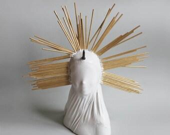 Madonna doll woman figure art sculpture horn white minimal homerenaissance recycle repurpose handmade modern minimal veiled woman veil