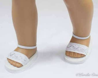 American Girl, 18 inch doll SANDALS SHOES Flipflops in White and Silver with Ankle Strap