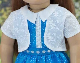 Blue Polka Dot DRESS with JACKET Belt Headband with Bracelet and SHOE Option for 18 Inch Doll Like American Girl