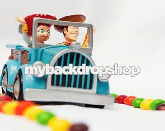 5ft x 5ft Toy Story Photography Backdrop – Woody and Jessie in Car with Skittles – Birthday Party - Exclusive Design - Item 1825