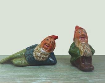 Miniature Vintage Ceramic Garden Gnomes, Doll's House Garden Ornaments