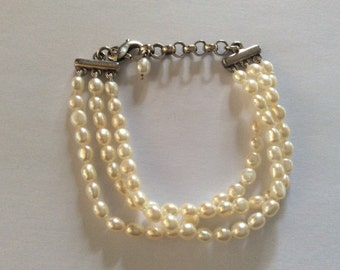 "Tiffany & Co. Sterling Silver Pearl Bracelet 925 Triple Strand Freshwater Pearl Bracelet - Adjustable 7"" to 8.5"" length"