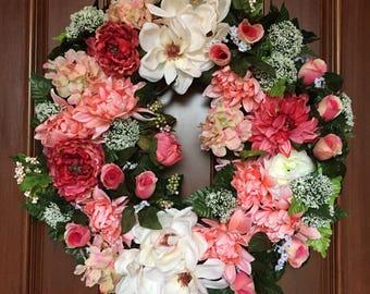 Elegant Summer Front Door Wreath, Summer Magnolia Wreaths, Farmhouse Magnolia Wreath, Bridal Wreath, Summer Wreath, Summer Farmhouse Wreath
