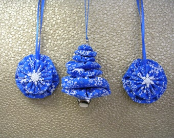 Snowflake Christmas Tree Ornament, Snowflake Fabric Ornament, Yo Yo Ornament, Suffolk Puff Ornament (Set of 3)