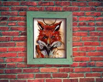 Coffee Art Red Fox Print, Watercolor Painting, Coffee Stained Paper, Watercolor Print, Red Fox, 5x7 matted to 8x10, Coffee art