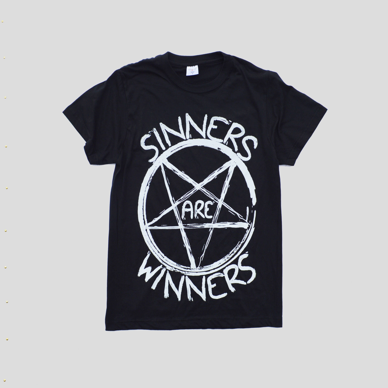 Black t shirt white cross - Satanic Pentagram Hipster Sinners Are Winners Indie Satanic Inverted Cross Hype Swag Men Women Unisex T