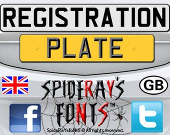REGISTRATION PLATE UK Commercial Font