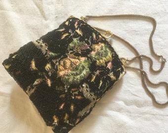 Vtg 60's beads & tapestry purse/60's black beads ,tapestry design evening bag /60's