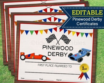 Pinewood Derby Award Certificates INSTANT + EDITABLE Boy Scouts, Cub Scouts, Eagle Scouts Pack Den Activity, Boy Scout Printable Derby Prize