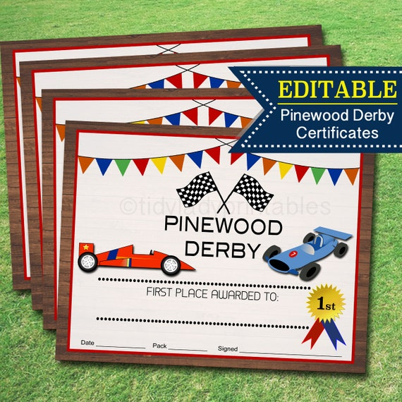 boy scouts pinewood derby templates - pinewood derby award certificates instant editable boy