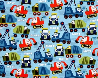 Construction Fabric by the Yard, Quilt, Cotton, Childrens, Nursery, Boy, Blue, Little Movers, Michael Miller, Play, Trucks, Bulldozer, Decor