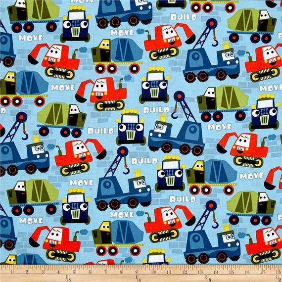 Construction fabric by the yard quilting cotton for Little blue truck fabric