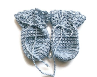 Light Blue Crochet mitten gloves for Baby, Newborn, preemie, reborn doll
