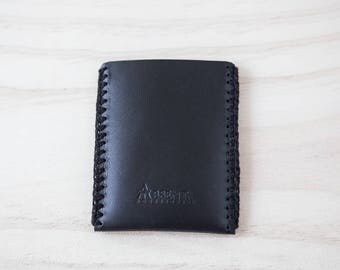 Leather card holder. Leather holder business card. Black color. Hand-stitched with crochet.
