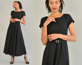 Laura Ashley Dress Vintage 80s Belted Midi Dress Cap Sleeve Full Circle Skirt Black Wool Crepe Lined Low Back Belted LBD Little Black Dress