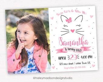 Cat Birthday Invitation, Kitty Cat Birthday Party Invitation Digital File