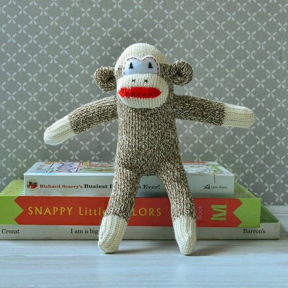 mini sock monkey doll unique baby shower gift for boys or girls soft