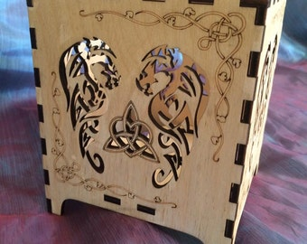 Wooden Laser Cut Tea Light Holder Celtic Tribal Dragon Triquetra Heart Pagan festival Hippie