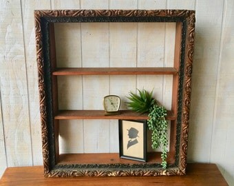 Vintage Shadow Box Made From An Ornate Victorian Frame, Vintage Three Tier Display Box