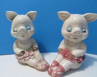 Vintage Ceramic Pigs Ballerinas Salt & Pepper Shakers Animal Farm Japan #P117 LEGO