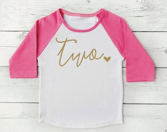Second Birthday Shirt Girl Pink and Gold Two Year Old Girl Birthday Outfit 350