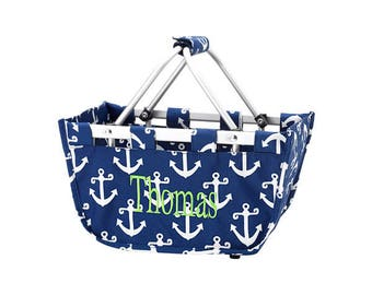 Monogrammed LARGE  Market Totes - Navy or Pink/White Anchors