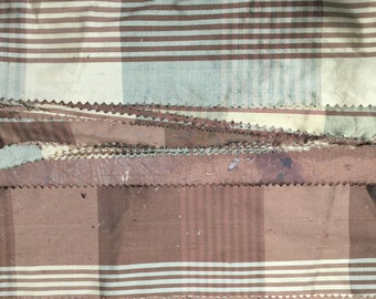 """Quilting Pieces - Brown and Taupe Plaid  - Pure Silk Dupioni Fabric - 18' x3"""" Pinked Sheer edges"""