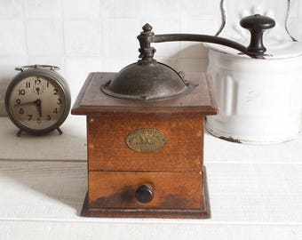 Large Peugeot Antique French Coffee Grinder 1930's || Vintage french wood coffee grinder - Rustic & shabby chic
