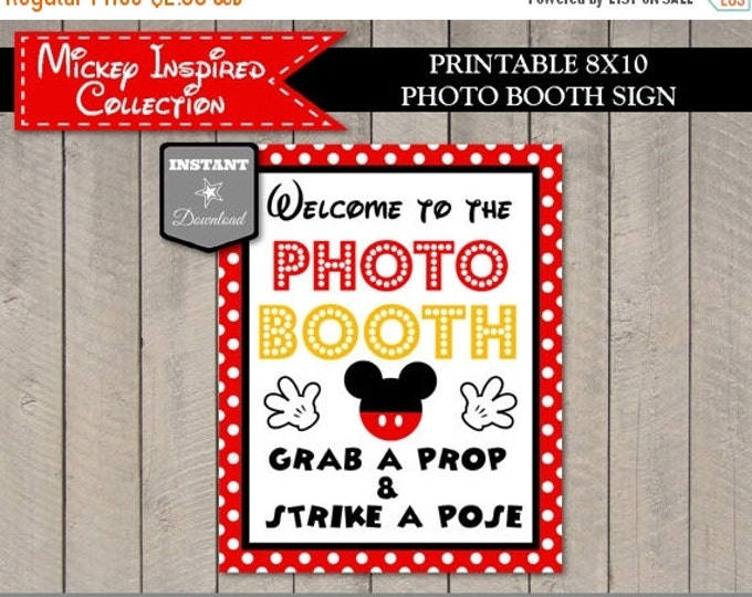 SALE INSTANT DOWNLOAD Printable Mouse 8x10 Welcome to The Photo Booth / Grab a Prop Strike a Pose / Mickey Ryb Collection / Item #1511