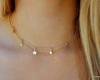 Star choker necklace, Delicate Star Necklace, double chain star choker necklace, Star choker, Gold or Silver choker, Dainty Star Necklace