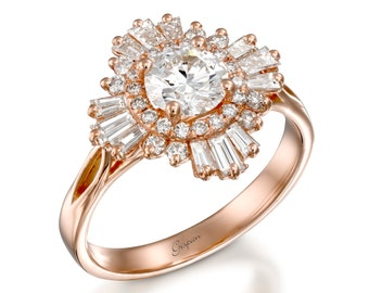 Vintage Diamond Engagement Ring with Baguette Cut Stones In 18k Rose Gold