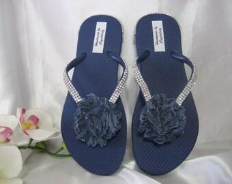 Navy Blue Flip Flops with Blue Denim  Shabby Flower & Crystal  Rhinestone, Wedding, Beach, Sandals, Bridesmaid, US Size 6 Handmade