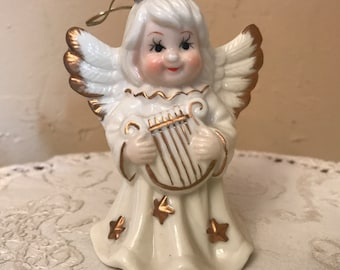 Vintage Angel  Bell Figurine of Girl with Gold Highlights- Christmas Bell Ornament- Playing the Harp