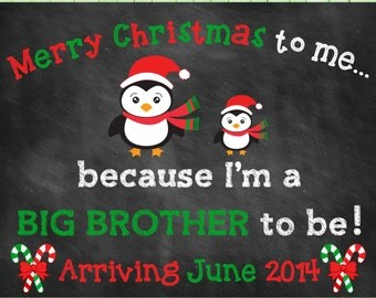 Printable Chalkboard Pregnancy Announcement // Christmas // Big Brother