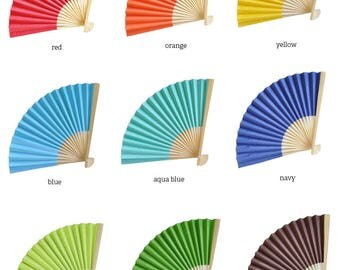 Colored Paper Fans, Wedding Fan, Hand Fans, Folding Fan Favors - Set of 24