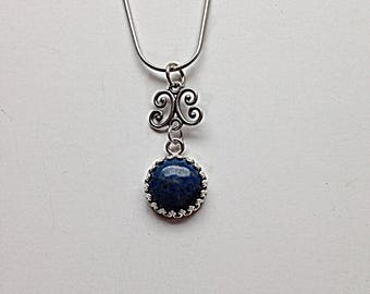 Sterling Silver 12mm Lapis Pendant