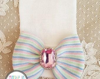 Newborn BABY White Hat Rainbow Deluxe Crystal Rhinestone newborn hat newborn beanie hospital cap newborn girl newborn hat girl baby newborn