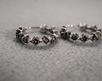 Vintage Art Deco Style Silver Tone Rhinestone Jet Black Hoop Design Pierced Earrings Jewelry  -K#65