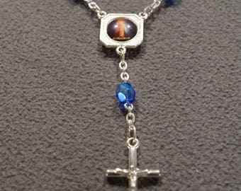 Vintage Traditional Style Silver Tone Blue Lucite Beads Religious Cross Rosary Beads Necklace Jewelry -K#1