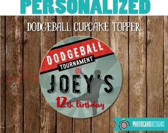 Dodgeball Cupcake Topper, Dodgeball Party, Cupcake Topper Printable, dodgeball, Party, Printables, DIY, Digital, Printable, PERSONALIZE