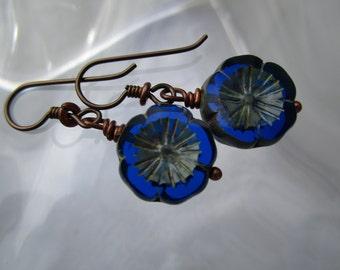Simple Blue Pansy Czech Glass Earrings Pretty Little Gardeners Ssuncatchersforears Unique Table Cut Glass Hypoallergenic Niobium Ear Wires