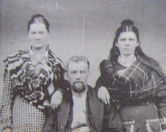 Family Portrait - Original 1870's Family Photo Tintype Photograph - Free Shipping
