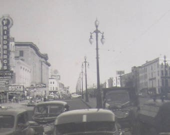 Vintage 1950 Canal Street New Orleans Street Scene Snapshot Photograph - Free Shipping