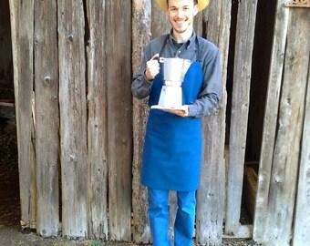 barista apron blue men, garden apron cotton fabric blue, men craft apron blue, blue kitchen apron cotton fabric, barbecue apron blue men,
