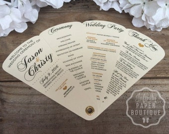 Simplicity Heartfelt Wedding Programs • Fan Programs, Petal Programs • 4 Petals Without Ribbon~107lb Metallic or 110lb Matte Cardstock