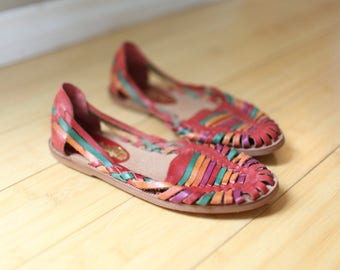 vintage woven red rainbow leather hurache sandals womens 7 *