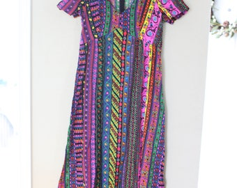 vintage maxi length rainbow ladybug dress